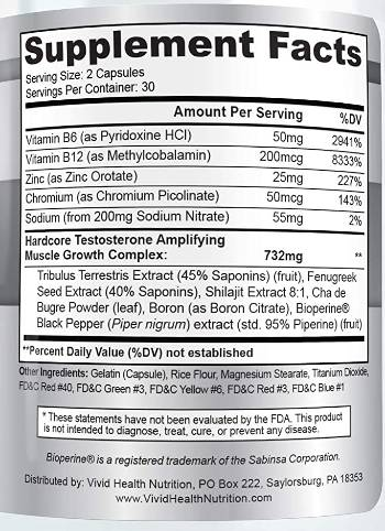 testovox ingredients label facts