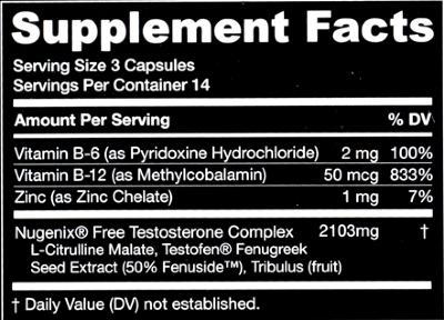 Nugenix ingredients label