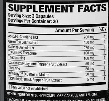 Burn XT Black Ingredients Label & facta