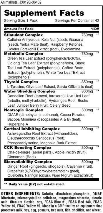 Animal Cuts Fat Burner Ingredients