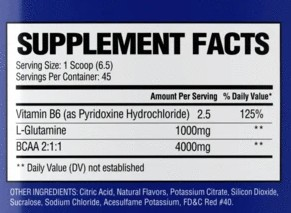 National Bodybuilding Co. Pro Contest BCAA Ingredients