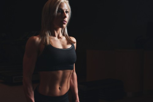 Woman with lean abs
