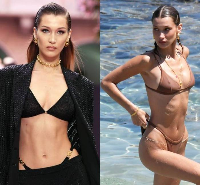 Two different pictures of Bella Hadid's fit and toned figure in a bikini