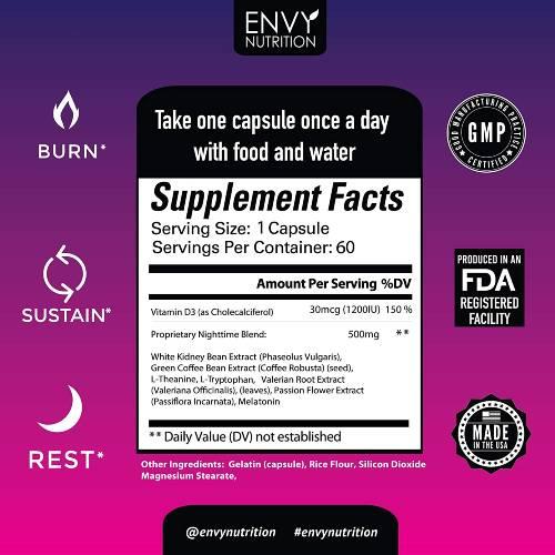 Envy Nutrition Ingredients Label