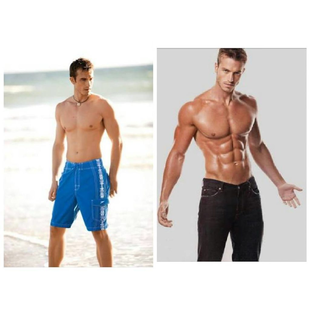 Nick Auger's body transformation, before and after.