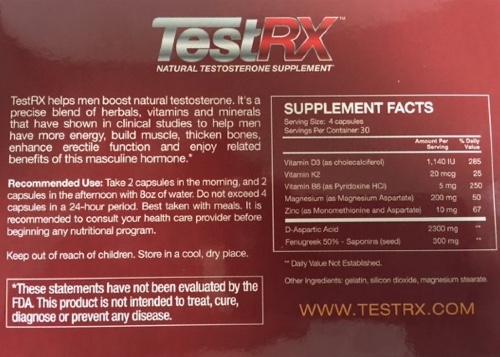 TestRX Ingredients